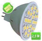 LEDspotPL 2,5W,24x5050SMD, Toplo bela3000K, 320lm, 12V/MR LSP24P-WW-MR16/2.5