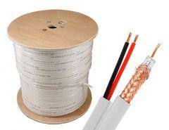 Koaksijalni kabl sa napojnim kablom RG59 100-300m (beli)